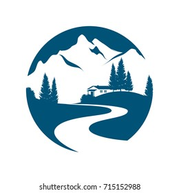 vector pictogram with alpine landscape, creek or road, cottage and firs