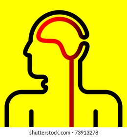 vector pictogram of brain and spinal cord on yellow