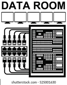 Vector pictograph of data room or storage server room at work with computers, networking cables for storage and backup of data with high security. Telecommunication equipment in data center.