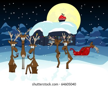Vector picture about funny deers waiting Santa Claus