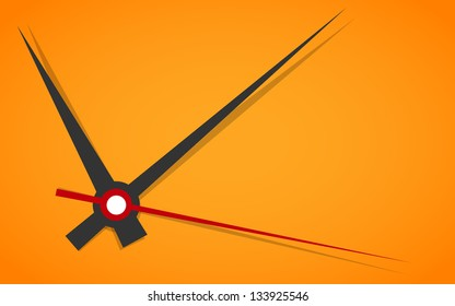 Vector picture of analog clock face, watch.Conception of punctuality or deadline. Precise time-keeping and measurement of time. Timepiece with arrows pointing on hour, minutes and seconds on orange.