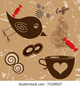 Vector picture with bird, coffee cup and candies