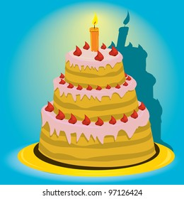 Vector picture with birthday cake. cake with candle. menu background.