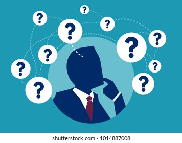 Vector picture of businessman having plenty of question thinking in doubts.