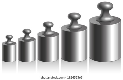Vector picture. Calibration of metallic weights isolated on white background