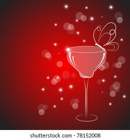 Vector picture with cocktail drink on red background