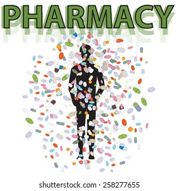 Vector picture of falling tablets on man from pharmacy. Big amount of pills and tablets.