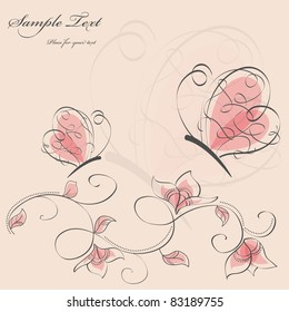 Vector picture with flowers and pink butterflies