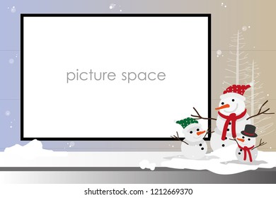 vector picture frame snow man in christmas holiday.winter season
