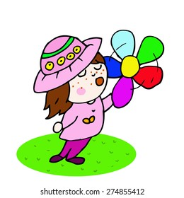 Vector picture with a girl in a hat and a flower for your design