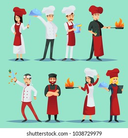 Vector picture of icons showing chefs of various world cuisines on blue background.
