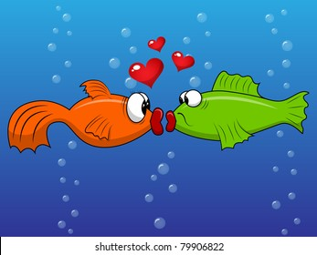 Vector picture with kissing fishes