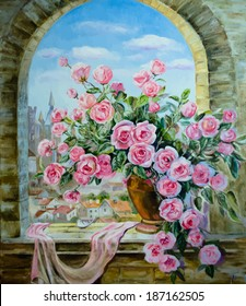 Vector picture oil paints on a canvas: a bouquet of roses at the window