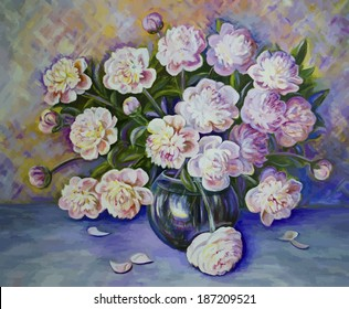 Vector picture oil paints on a canvas: a bouquet of peonies in a glass vase