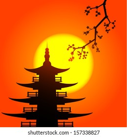 Vector picture of pagoda and sakura silhouettes with the rising sun on background