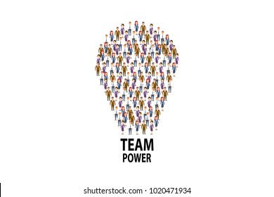 Vector picture of people arranged in shape of light bulb with words Team Power on white backdrop.