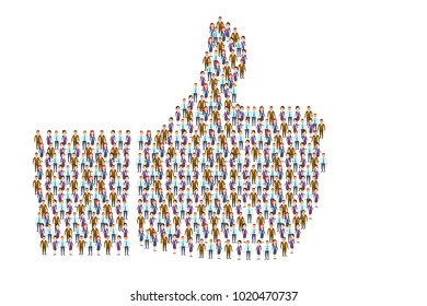 Vector picture of people arranged in symbol of thumb up on white background. The people's voice say like concept. Eps vector illustration