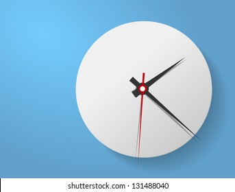 Vector picture of round analog clock face, watch.Conception of punctuality Precise time-keeping and measurement of time. Timepiece with arrows for hour, minutes and seconds on blue background.