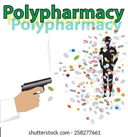 Vector picture of shooting by tablets to man from gun. Treatment by big amount of pills and tablets. Polypharmacy.