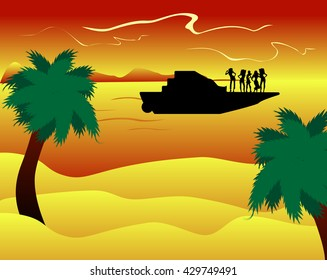 Vector picture with silhouette of the yacht with the girls in the sea at sunset with palm trees and sandy beach.