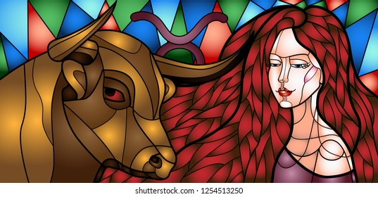 Vector picture in the style of a stained-glass window depicting a girl with a bull, personifying the zodiac sign Taurus, from a series of pictures of the girl zodiac signs