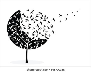 Vector picture with tree crown in the form of birds, some of which flies away