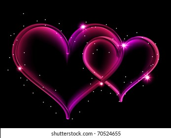 Vector picture with two shining hearts on black background