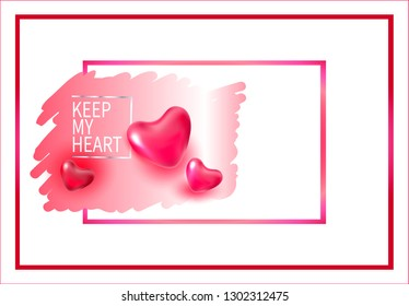 Vector picture for Valentine's Day, February 14th.Vector picture for Valentine's Day, February 14. A postcard with the holiday of all lovers.Keep my heart.Happy valentines day romance greeting card.