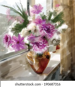 Vector picture watercolor paints: a bouquet of peonies in a glass vase