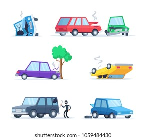 Vector pictures set of different accidents on the road. Big damage of cars. Illustration of vehicle accident, car crash