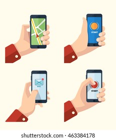 vector pictures set of hands with smartphone. Pictures with place for your personal design on the screen. Navigation, mail and start game first screen.