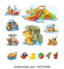 Vector pictures set of water slide for web, site, advertising, banner, poster, board and print. illustrations idolate on white background