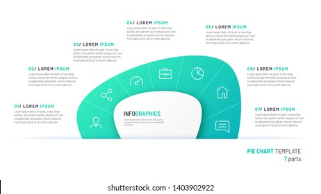 Vector pie chart infographic template in the form of abstract shape divided by seven parts.