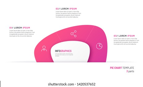 Vector pie chart infographic template in the form of abstract shape divided by a three parts.