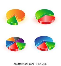 vector pie chart set