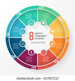 Vector pie chart template for graphs, charts, diagrams. Business circle infographic concept with 8 options, parts, steps, processes.