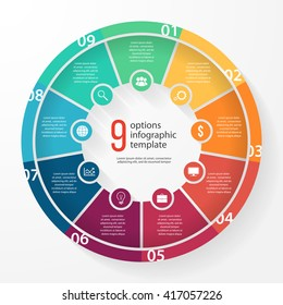 Vector pie chart template for graphs, charts, diagrams. Business circle infographic concept with 9 options, parts, steps, processes.