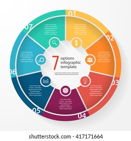 Vector pie chart template for graphs, charts, diagrams. Business circle infographic concept with 7 options, parts, steps, processes.