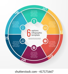 Vector pie chart template for graphs, charts, diagrams. Business circle infographic concept with 6 options, parts, steps, processes.