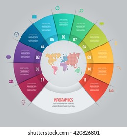 Vector pie chart template for graphs, charts, diagrams. Business circle infographic concept with 11 options, parts, steps, processes with world map inside.