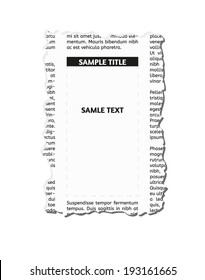 vector  piece of newspaper with empty place for your text or advertisement