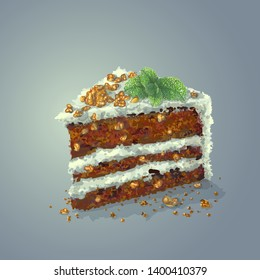 Vector piece of pepermint cake with slices of walnuts, sprig of mint, prunes, crumbly tender cake layers, which are smeared with fantastic thick mint-flavored cheese cream. Realistic, hand drawing.