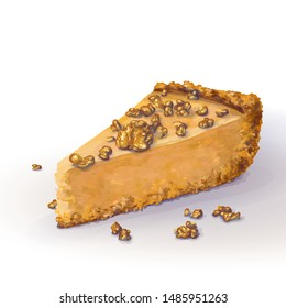Vector piece of pumpkin cheesecake with scattered walnut pieces, soft delicate creamy-curd cheese. Crisp, crumbly cake with back, appetizing, realistic, homemade cakes, hand drawn. Tasty, cottage bake