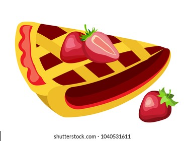 Vector piece of strawberry pie on a transparent background