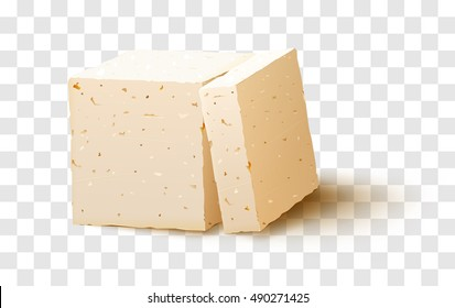 Vector piece of tofu cheese on transparent background.