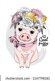 Vector pig with flower wreath and pink neck scarf. Hand drawn illustration of dressed piggy.