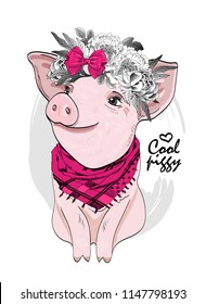 Vector pig with flower wreath, pink bow and scarf. Hand drawn illustration of dressed piggy.