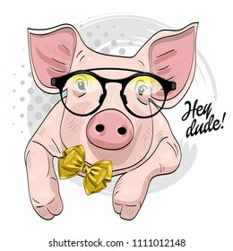 Vector pig with glasses and bow. Hand drawn illustration of dressed piggy.