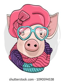 Vector pig with glasses, pink hat and  knitted scarf. Hand drawn illustration of dressed piggy.