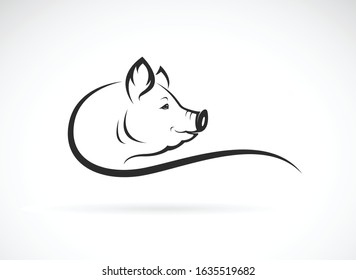 Vector of a pig head design on white background. Farm animals. Pig head logo or icon. Easy editable layered vector illustration.